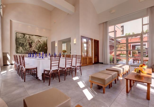 Spacious event space with plenty of windows and outdoor areas