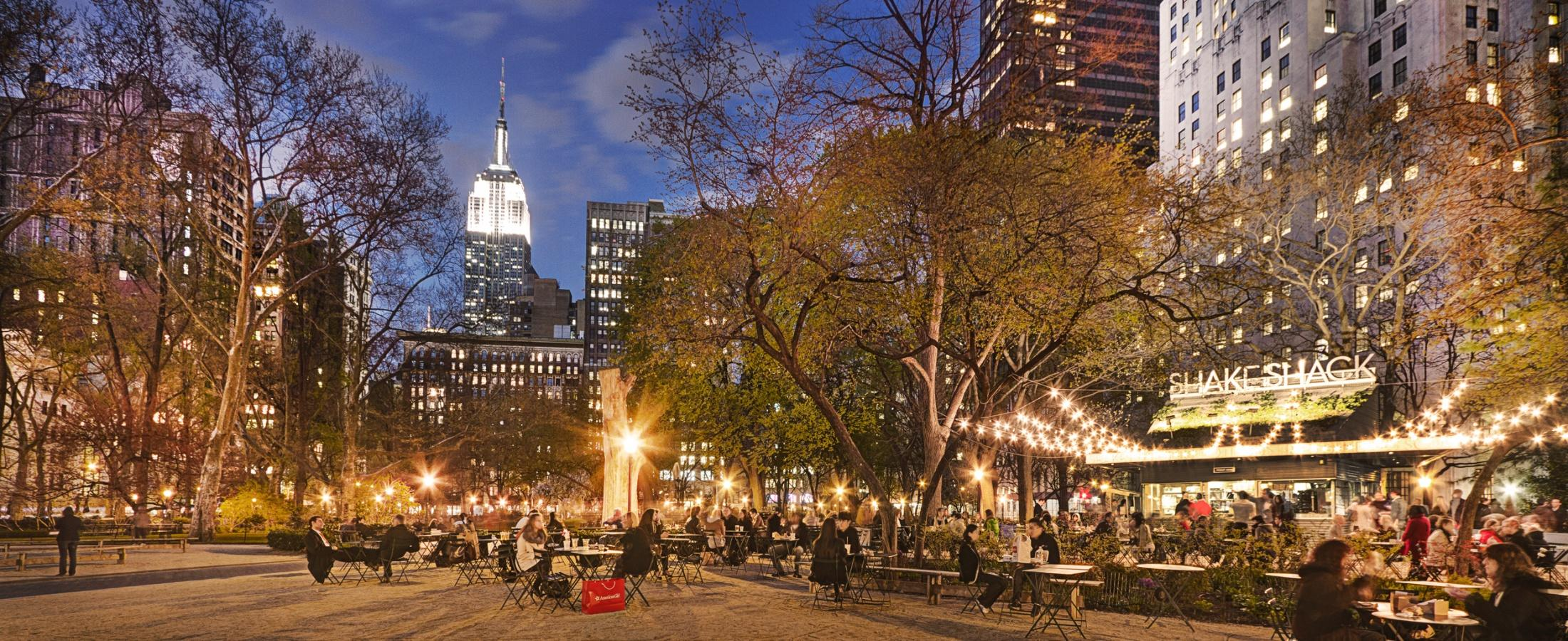 Shake Shack at Madison Square Park at Dusk