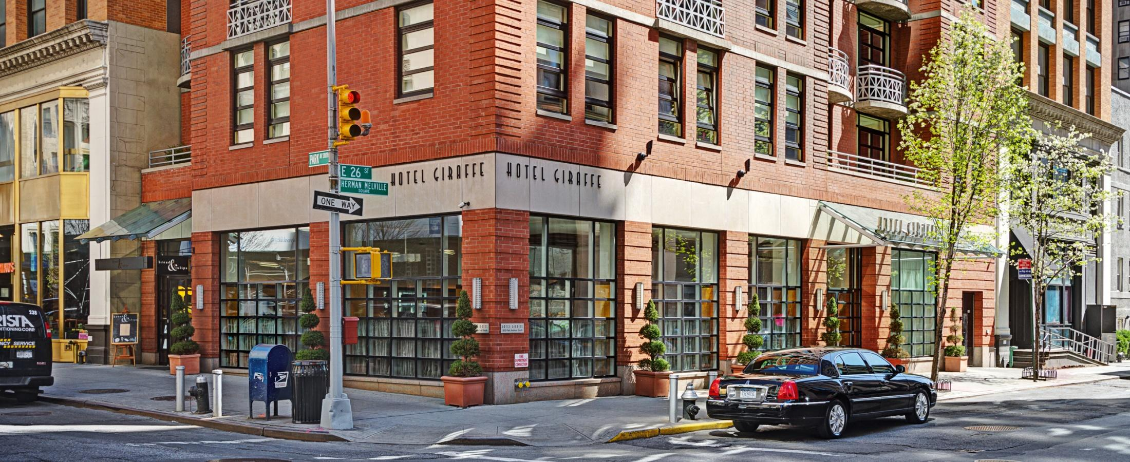 Hotel Giraffe is located on the corner of East 26th St and Park Ave South, just east of Madison Square Park.