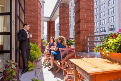 Penthouse 1202 offers a private terrace, called the Park Avenue Terrace. It's a great space to get a breath of fresh air during your meeting!