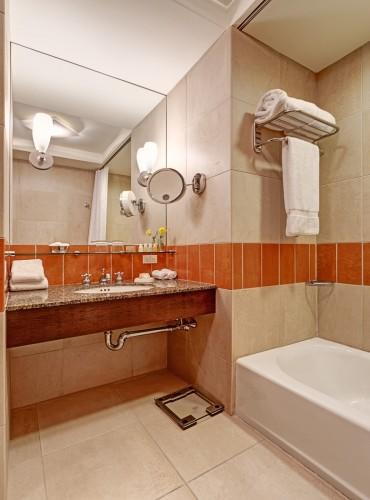 All of our guestroom bathrooms offer plenty of counter space for all of your toiletries