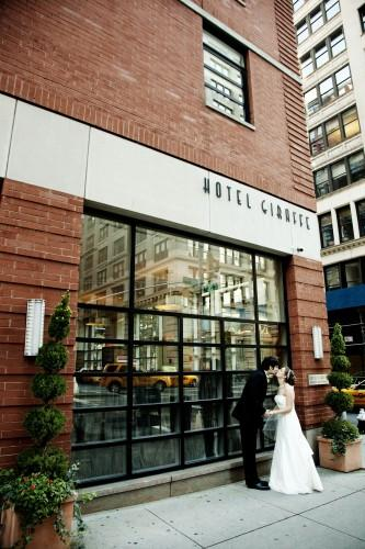Couples first look outside of Hotel Giraffe. Photo courtesy of Sarma & Co Photography