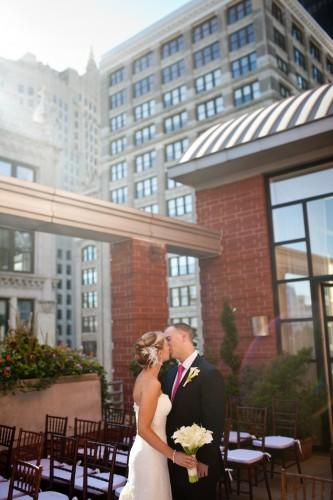 Couple on our rooftop garden celebrating their marriage! Photo courtesy of Jennifer Davis Photography