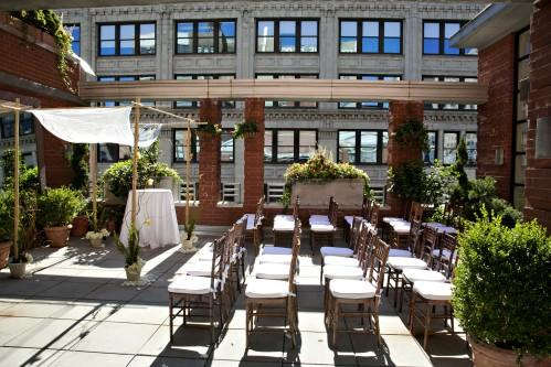 Our Rooftop Garden set for an intimate NYC wedding with chivari chairs and a chuppah! We would be happy to recommend our preferred vendors to help with your design.