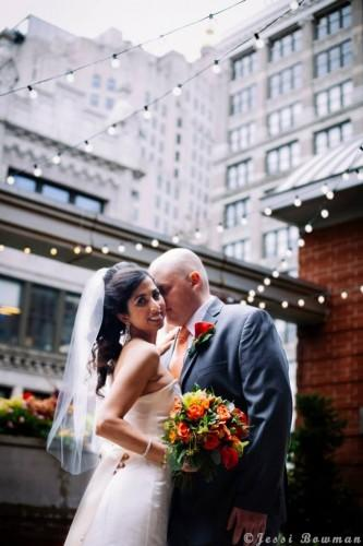 Beautiful Couple on our Rooftop Garden right after their ceremony! Photo Courtesy of Jessi Bowman